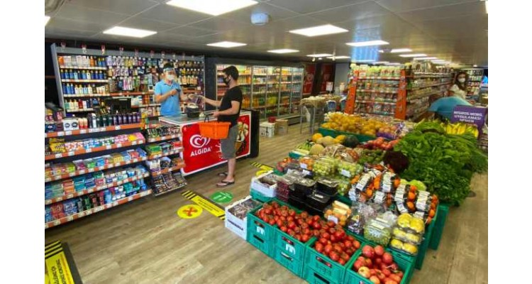 floating Migros shop-shopping in the sea
